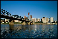 Williamette River, Hawthorne Bridge and city Skyline, early morning. Portland, Oregon, USA (color)
