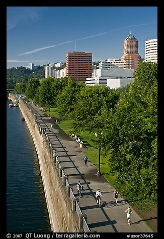 People exercising at park on Williamette River waterfront, skyline. Portland, Oregon, USA