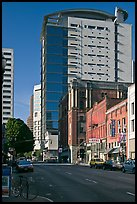 Historic and contemporary buildings, downtown. Portland, Oregon, USA (color)