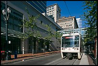 Street with tram, downtown. Portland, Oregon, USA (color)