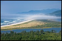 River estuary and fog near Cap Meares. Oregon, USA