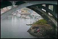 Depoe Bay Harbor from under highway bridge. Oregon, USA (color)