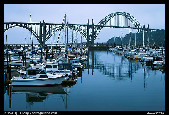 Harbor and Yaquina Bay Bridge, dawn. Newport, Oregon, USA (color)