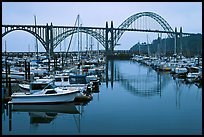 Harbor and Yaquina Bay Bridge, dawn. Newport, Oregon, USA