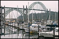 Marina and Yaquina Bay Bridge. Newport, Oregon, USA