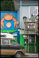 Colorful seafood restaurant. Newport, Oregon, USA (color)