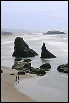 Beach with couple walking amongst sea stacks. Bandon, Oregon, USA