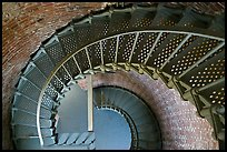 Spiral staircase inside Cape Blanco Lighthouse. Oregon, USA