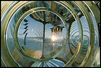 Light and Fresnel lens inside Cape Blanco Lighthouse. Oregon, USA