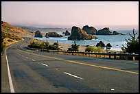 Highway and ocean, Pistol River State Park. Oregon, USA ( color)