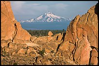Mt Bachelor seen through Asterisk pass. Smith Rock State Park, Oregon, USA