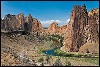 Crooked River and cliffs. Smith Rock State Park, Oregon, USA