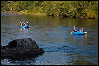 Two Rafts passing boulder, McKenzie river. Oregon, USA