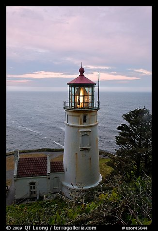 Heceta Head lighthouse at sunrise. Oregon, USA (color)