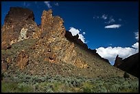 Shadows across spires,  Leslie Gulch BLM Area of Critical Environmental Concern. Oregon, USA (color)