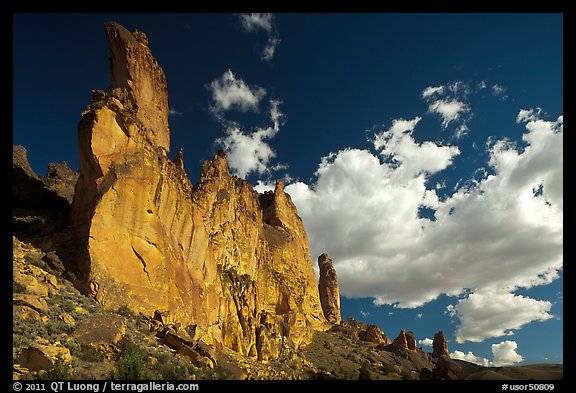 Roostercomb Rock and cloud Leslie Gulch. Oregon, USA (color)