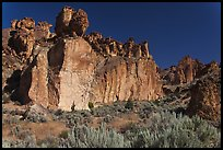 Volcanic cliffs, Leslie Gulch BLM National Backcountry Byway. Oregon, USA (color)