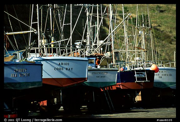 Boats on the deck in Port Orford. Oregon, USA (color)