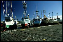 Boats on the dry deck of Port Orford. Oregon, USA ( color)