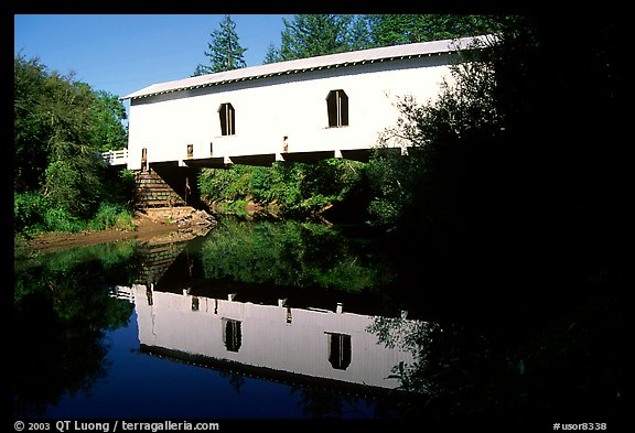 White covered Bridge reflected in river, Willamette Valley. Oregon, USA