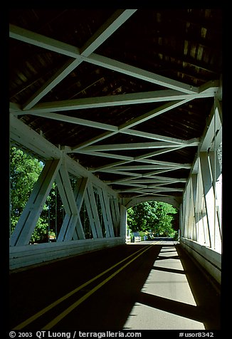Inside a covered bridge, Willamette Valley. Oregon, USA (color)