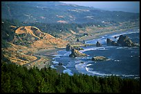 Coastline with highway and seastacks, Pistol River State Park. Oregon, USA (color)