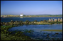 Coquille River estuary with lighthouse. Bandon, Oregon, USA