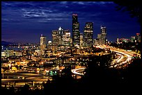 Seattle skyline at night. Seattle, Washington (color)