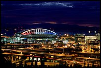 Qwest Field stadium and freeways at night. Seattle, Washington