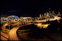 Freeway, stadium, and skyline at night. Seattle, Washington (color)