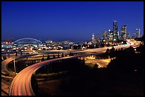 Seattle skyline, Qwest Field and freeways at dawn. Seattle, Washington