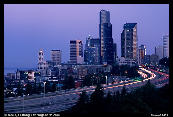 Seattle skyline and freeway at dawn. Seattle, Washington (color)