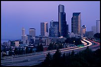 Seattle skyline and freeway at dawn. Seattle, Washington