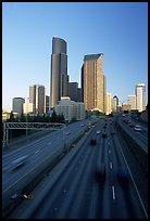 Freeway and downtown skyline, early morning. Seattle, Washington