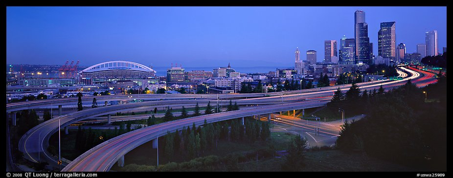 Seattle cityscape with highways at dawn. Seattle, Washington (color)