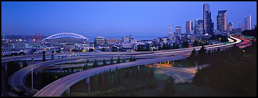 Seattle cityscape with highways at dawn. Seattle, Washington (Panoramic color)