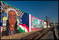 Mural and railroad tracks. Seattle, Washington (color)