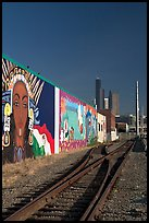 Railroad, mural, and high-rise towers. Seattle, Washington (color)