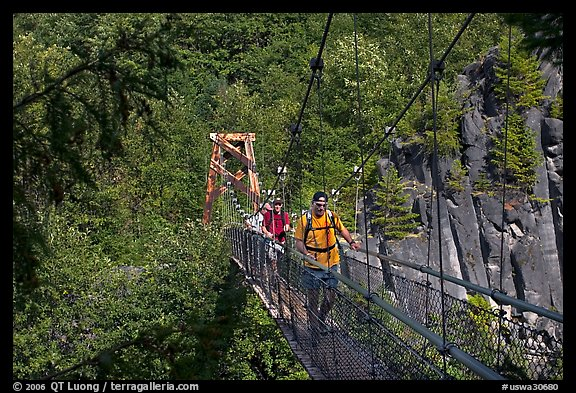 Hikers cross suspension bridge over Lava Canyon. Mount St Helens National Volcanic Monument, Washington
