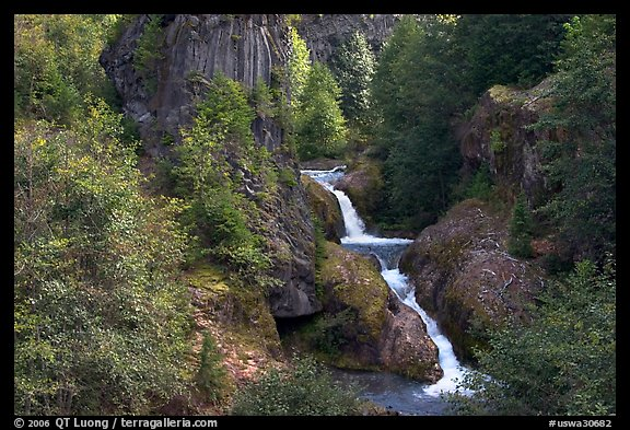 Muddy River spills over basalt falls in Lava Canyon. Mount St Helens National Volcanic Monument, Washington (color)