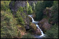 Muddy River spills over basalt falls in Lava Canyon. Mount St Helens National Volcanic Monument, Washington ( color)