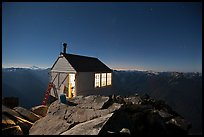 Fire lookout on Hidden Lake Peak by night. Washington