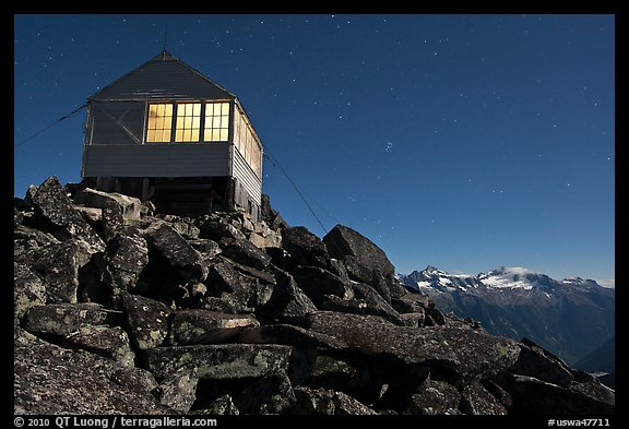Lookout at night and mountain range, Mount Baker Glacier Snoqualmie National Forest. Washington (color)