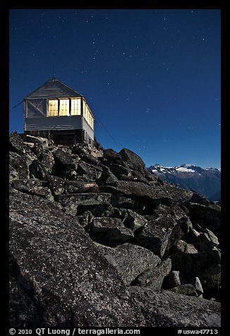 Moonlit fire lookout, Hidden Peak, Mount Baker Glacier Snoqualmie National Forest. Washington (color)