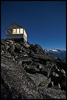 Moonlit fire lookout, Hidden Peak, Mount Baker Glacier Snoqualmie National Forest. Washington