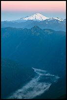 Dawn over fog-filled valley and Mt Baker, Mount Baker Glacier Snoqualmxie National Forest. Washington (color)