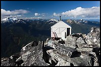 Fire lookout on Hidden Lake Peak, Mount Baker Glacier Snoqualmie National Forest. Washington