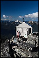 Fire lookout on top of mountain, Hidden Lake Peak. Washington