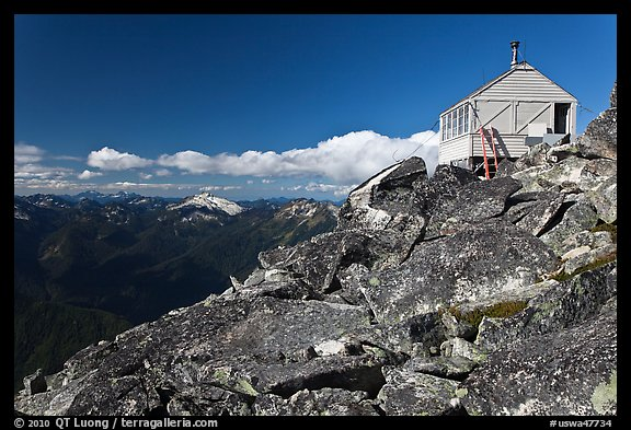 Mountaintop lookout, Hidden Lake Peak. Washington (color)