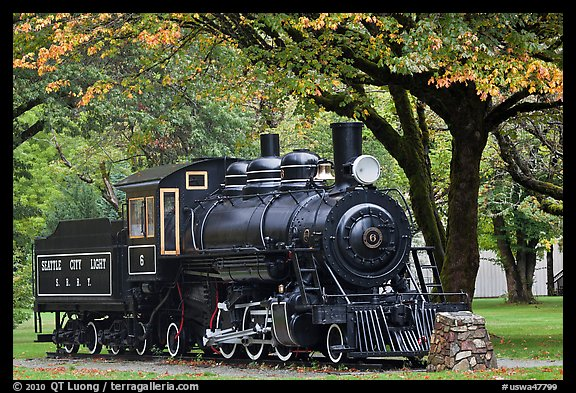 Seattle City Light locomotive, Newhalem. Washington (color)
